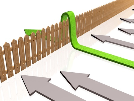 obstacle course: Green and gray arrows and fence on white reflective background. Stock Photo