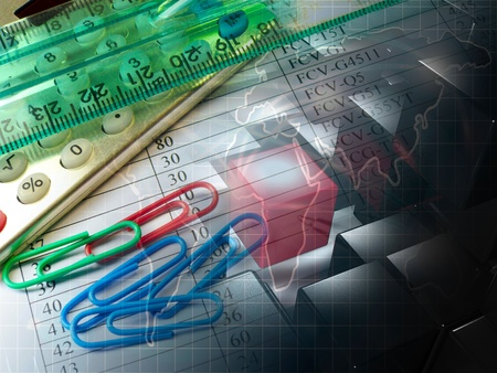 Business collage about reporting with pen, ruler and calculator. Stock Photo - 12246787