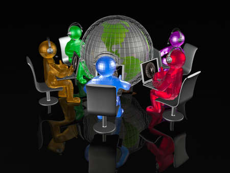 Network - globe and mans on black background. Stock Photo - 12247330
