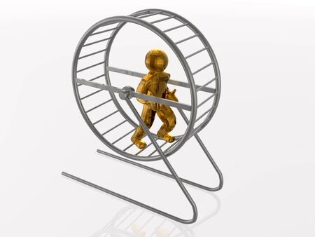 drudgery: Man in the squirrel cage on white background.