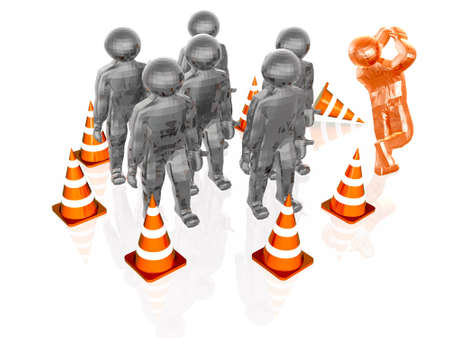 penetration: Precautionary cones arranged along the circle with mans, white reflective background.