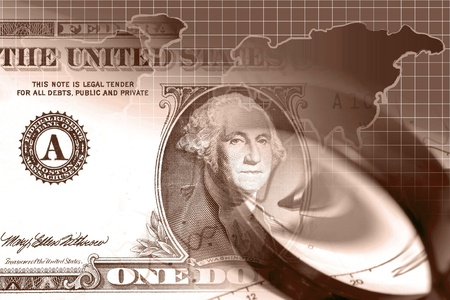 Business background with magnifier, pen and money, in reds. Stock Photo