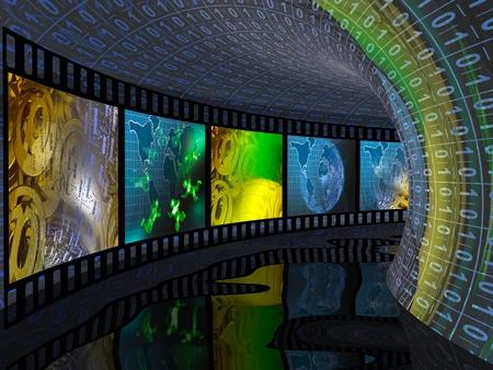 Del rollo de película (de comunicación) en el túnel digital. Foto de archivo - 12602893
