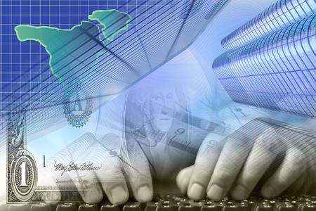 Business-Hintergrund mit den Händen, Dollar und keyboardr. Standard-Bild - 12602796