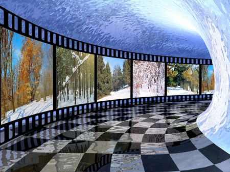 Film roll with color pictures (winter) in the tunnel.