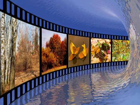 Film roll with color pictures (nature) in the tunnel. Standard-Bild