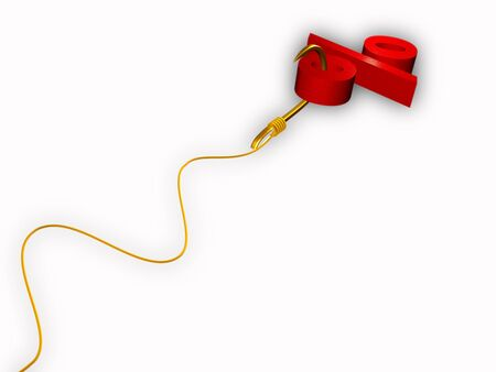 servitude: Hook with percent sign and man on white background. Stock Photo