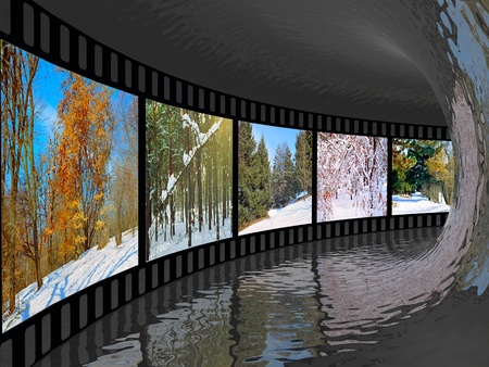 Film roll with color pictures (winter) in the tunnel. photo