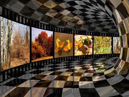 Film roll with color pictures (fall) in the tunnel.