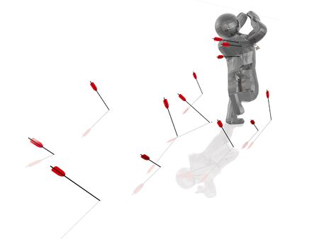 bombardment: Man and arrows on white reflective background.