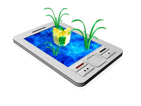lilia: Communicator with water and flowers on the screen. Stock Photo