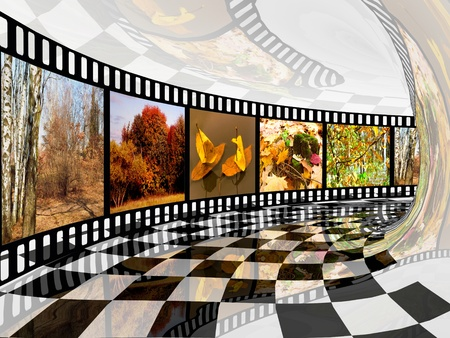 Film roll with color pictures (autumn) in the tunnel. photo