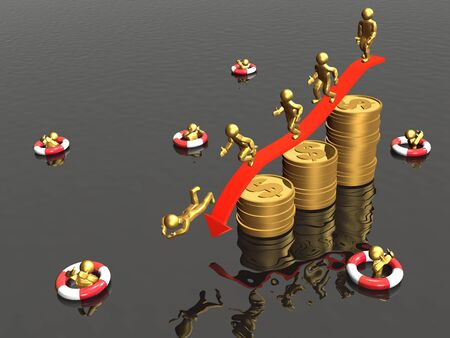 Mans jumping from coins - metaphor. Stock Photo