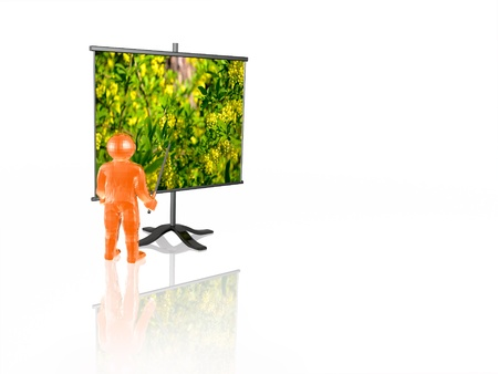 Ecology presentation - man and presentation stand on white background. photo