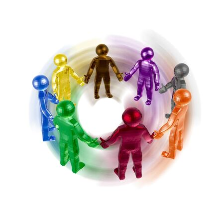 Round dance of color mans on the white background.