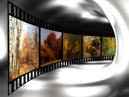 cinema strip: Film roll with color pictures (nature) in the tunnel. Stock Photo