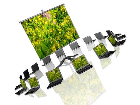 Ecology presentation - laptops and presentation stand on white background. photo