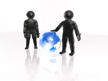 Network - globe and mans on white. Stock Photo - 14135353