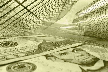 Business background in sepia with money, ruler, buildings and pen. photo