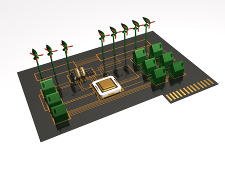 Colored 3d homes and processor on electronic board. photo