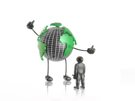 Network - globe and man on white. Stock Photo - 14353685