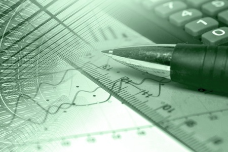 Business background in greens with graph, ruler and pen. Stock Photo - 14353694