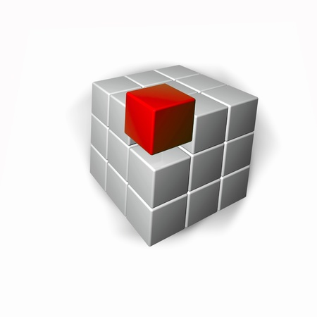 white cube: Abstract background - red and grey cubes.