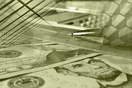 Business background with money, ruler, calculator and pen, in sepia.