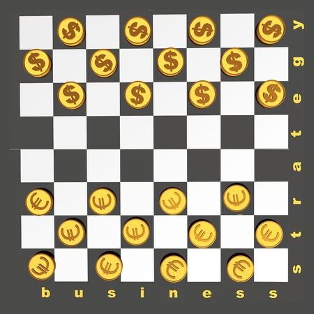allegory: Checkers with coins on black background - allegory.