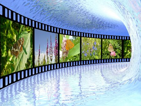 Film roll with color pictures about nature in the tunnel. photo