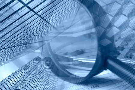 analyse: Business collage dans le blues avec des b�timents, stylo et loupe.