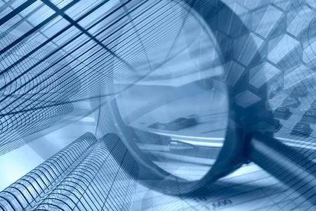 economie: Business collage in de blues met gebouwen, pen en vergrootglas. Stockfoto