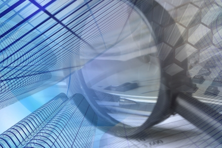 Business collage con los edificios, la pluma y la lupa. Foto de archivo - 15258871