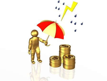 Man with umbrella and coins on white reflective background. photo