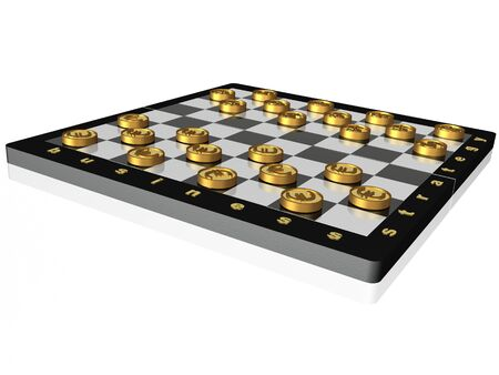 allegory: Checkers with coins on white background - allegory.