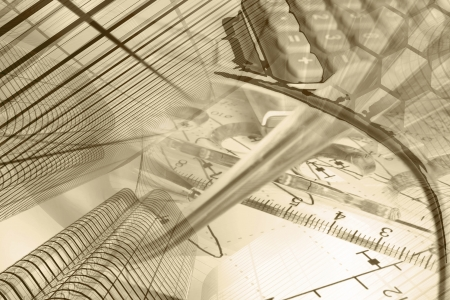 business efficiency: Business background in sepia with graph, ruler, pen, buildings and calculator