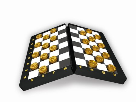 allegory: Checkers with coins on white background - allegory