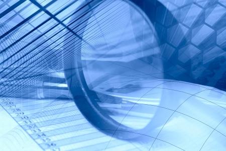 Empresas fondo en tonos azules con gráfico, pluma, edificios y lupa. Foto de archivo - 16067569