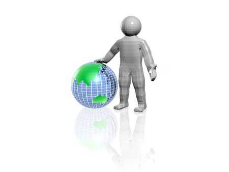 Network - globe and man on white. Stock Photo - 16154710