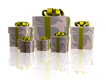 Gift boxes on the white background. Standard-Bild