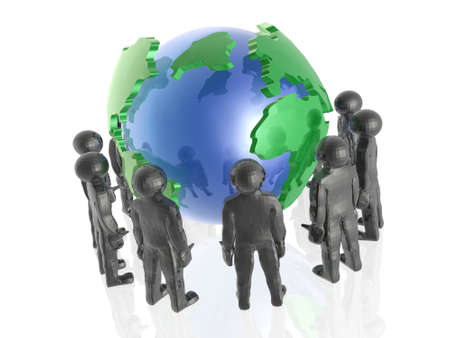 Network - globe and mans on white  Stock Photo - 16262714