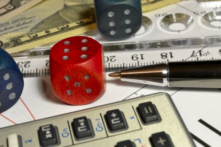 Business background with graph, ruler, pen and die