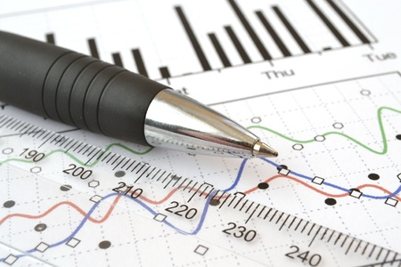 measurements: Business background with graph, ruler and pen. Stock Photo