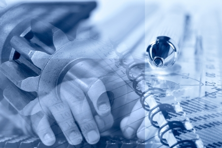Business background with hands, gears and pen.