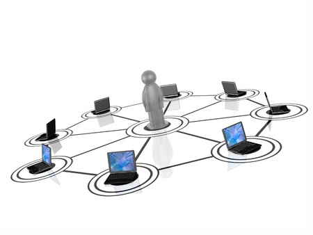 Network - man and laptops on white Stock Photo - 16760748
