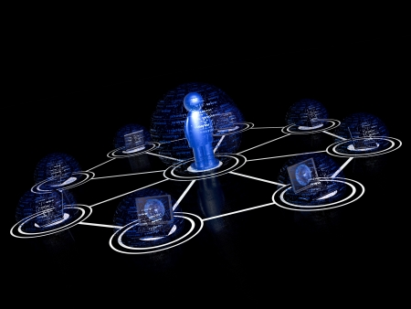 Network - man and laptops on black background. Stock Photo - 16831677