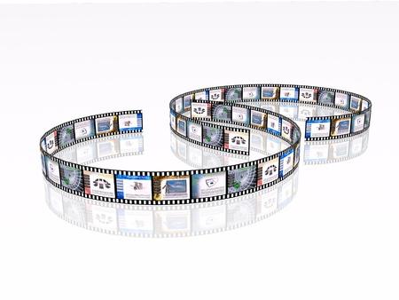 rollo pelicula: Rollo de película con el color de las imágenes (comunicación) sobre fondo blanco.