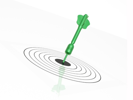 exactness: Green arrow on the target, white background.