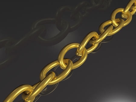 Gold chain on black reflective background. Stock Photo - 17312734