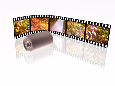 Film roll with color pictures (autumn) on white background. photo
